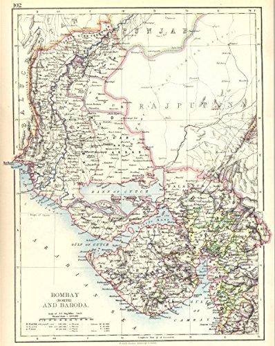 Baroda India Map.India Bombay Mumbai North And Vadodara Baroda Sindh 1897 Old