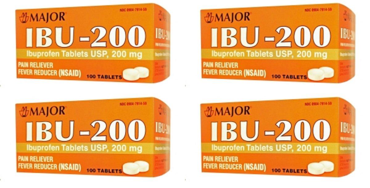 ( 4 Pack ) IBUPROFEN 200MG DYE FREE TAB IBUPROFEN-200 MG White 100 TABLETS UPC 309047914593 by Major Pharmaceuticals