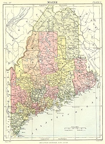 (MAINE: State map showing counties. Britannica 9th)