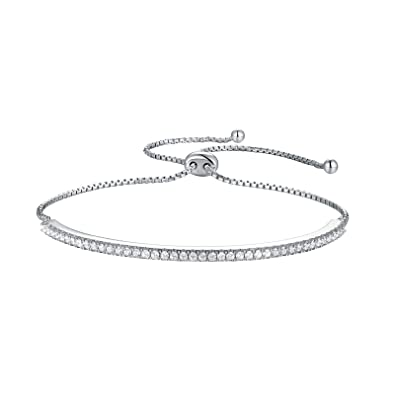 5fd6dd4f4 Image Unavailable. Image not available for. Color: Wuziwen Adjustable Chain  Bracelet for Women Sterling Silver Cubic Zirconia CZ Bolo Sparkling Strand  ...