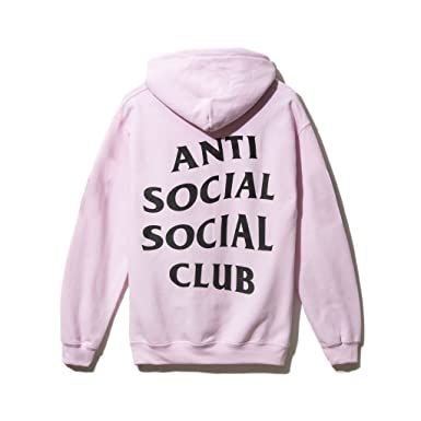 Identity Anti Social Club Hoodie In Pink Black Printed On Gildan Small