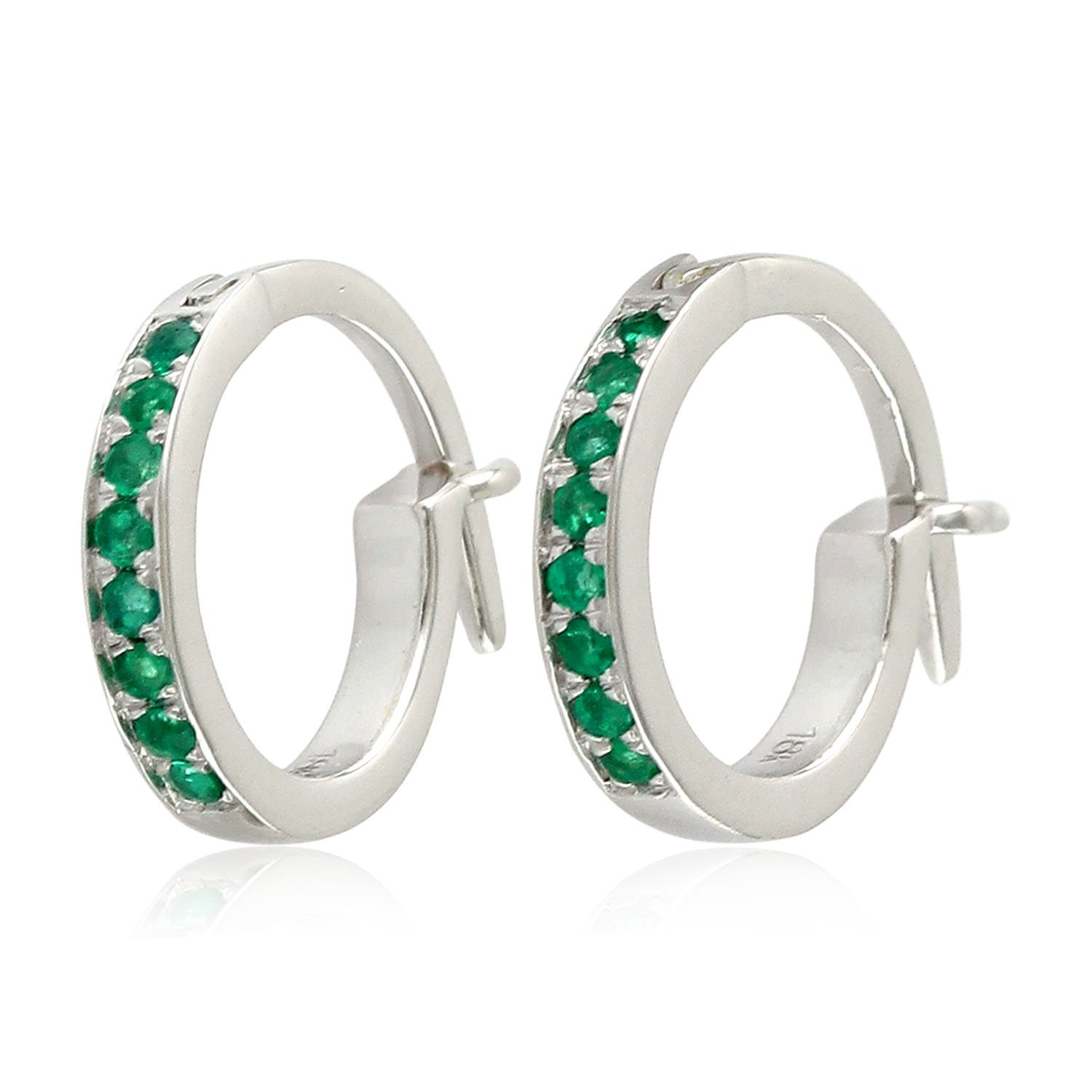 Micropave-Set Emerald Huggie Hoop Earrings in 18K White Gold