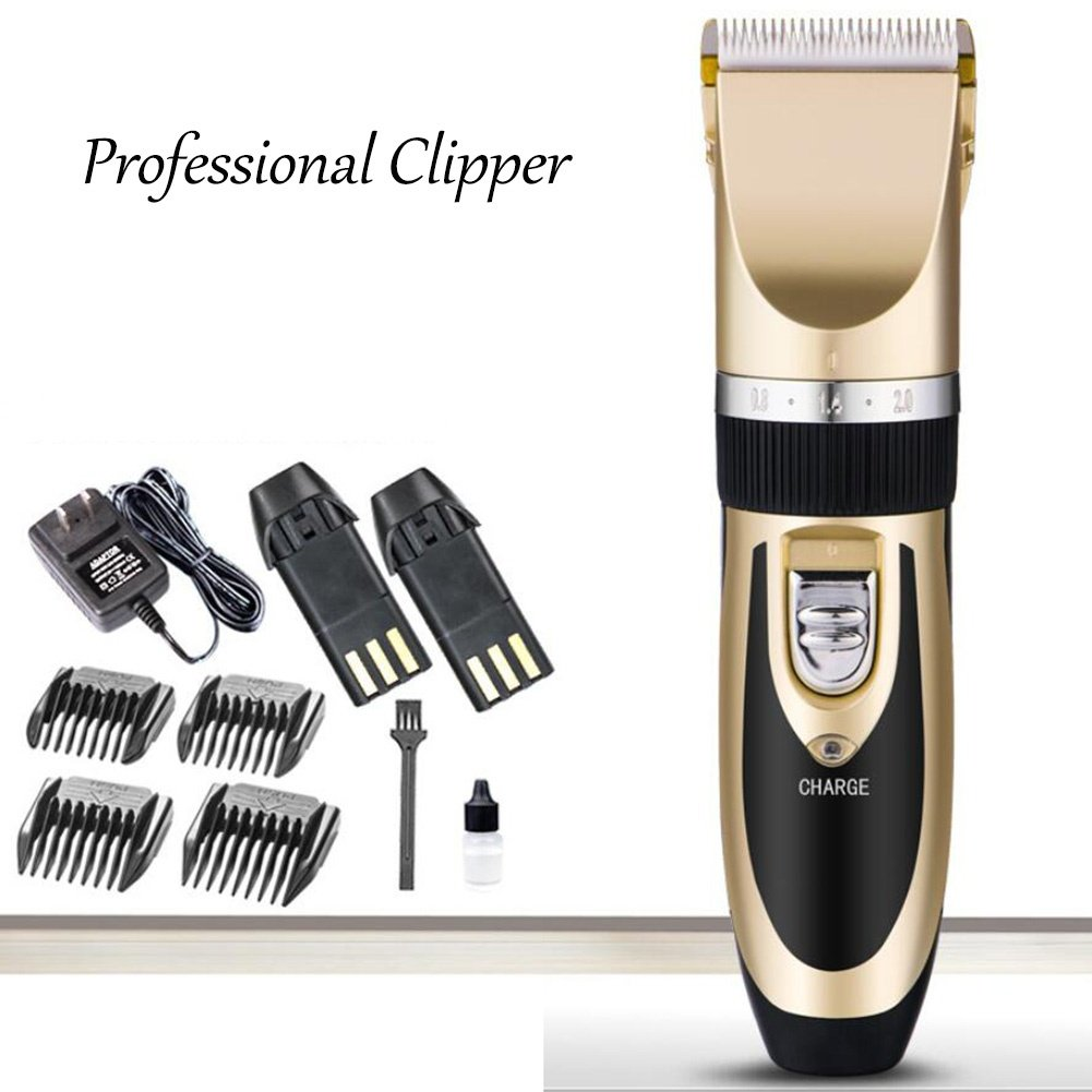 gold Pet Grooming Clippers, 4 Comb Guides Rechargeable Cordless Pet Hair Shaver Electric Clippers Grooming Trimmer Kit Set with Cleaning Brush for Pet Dogs and Cats Low Noise, gold
