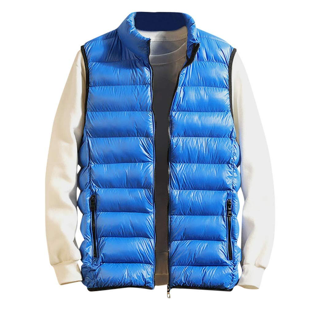 TIFENNY Men's Winter Zipper Vest Fashion Pure Color Waistcoat Vest Stand Neck Lightweight Sleeveless Jacket Coat Outwear by TIFENNY_Shirts