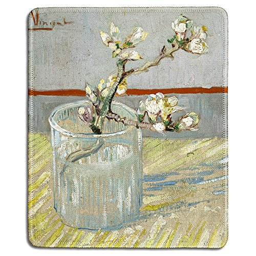 dealzEpic - Art Mousepad - Natural Rubber Mouse Pad with Famous Fine Art Painting of Sprig of Flowering Almond in a Glass by Vincent Van Gogh - Stitched Edges - 9.5x7.9 inches ()
