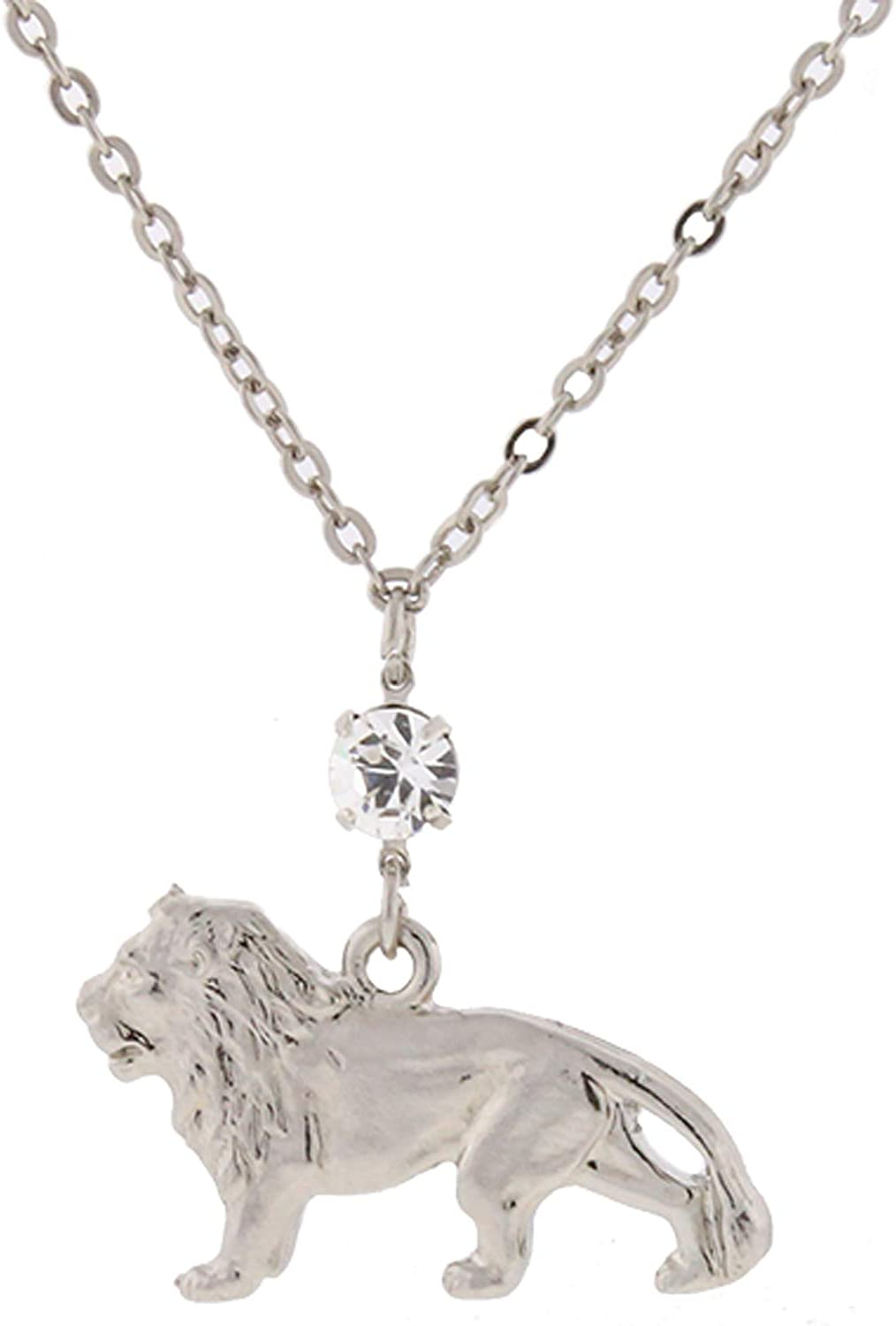 1928 Jewelry Justice for Cecil Silver-Tone with Crystal Cecil The Lion Necklace