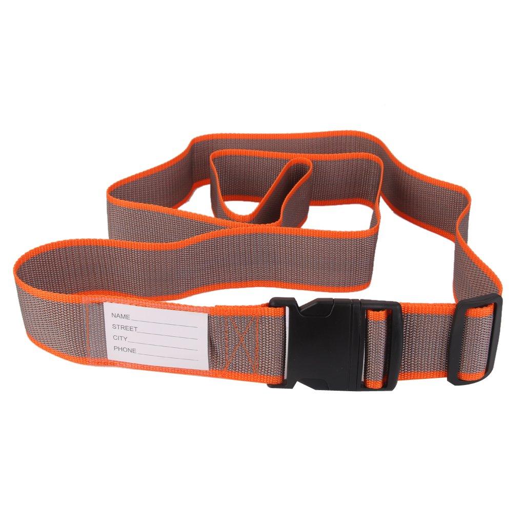 Luggage Straps Tight Adjustable Tie Down Safety Buckle Belt Orange and Grey Generic DEA14017702