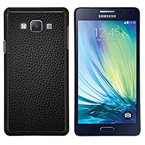 KLONGSHOP // Cubierta de piel con cierre a presión Shell trasero duro de goma Protección Caso - Negro del cuero de grano completo Gris Patrón - Samsung Galaxy A7 A7000 //