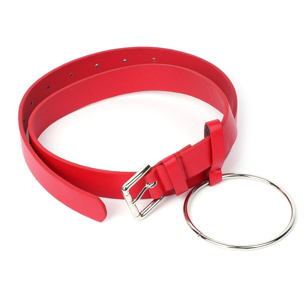 RUDA Frauen Faux Ledergürtel Mit Metall Runde Ring Kreis Für Hosen Kleider Jeans Chic Geschenk