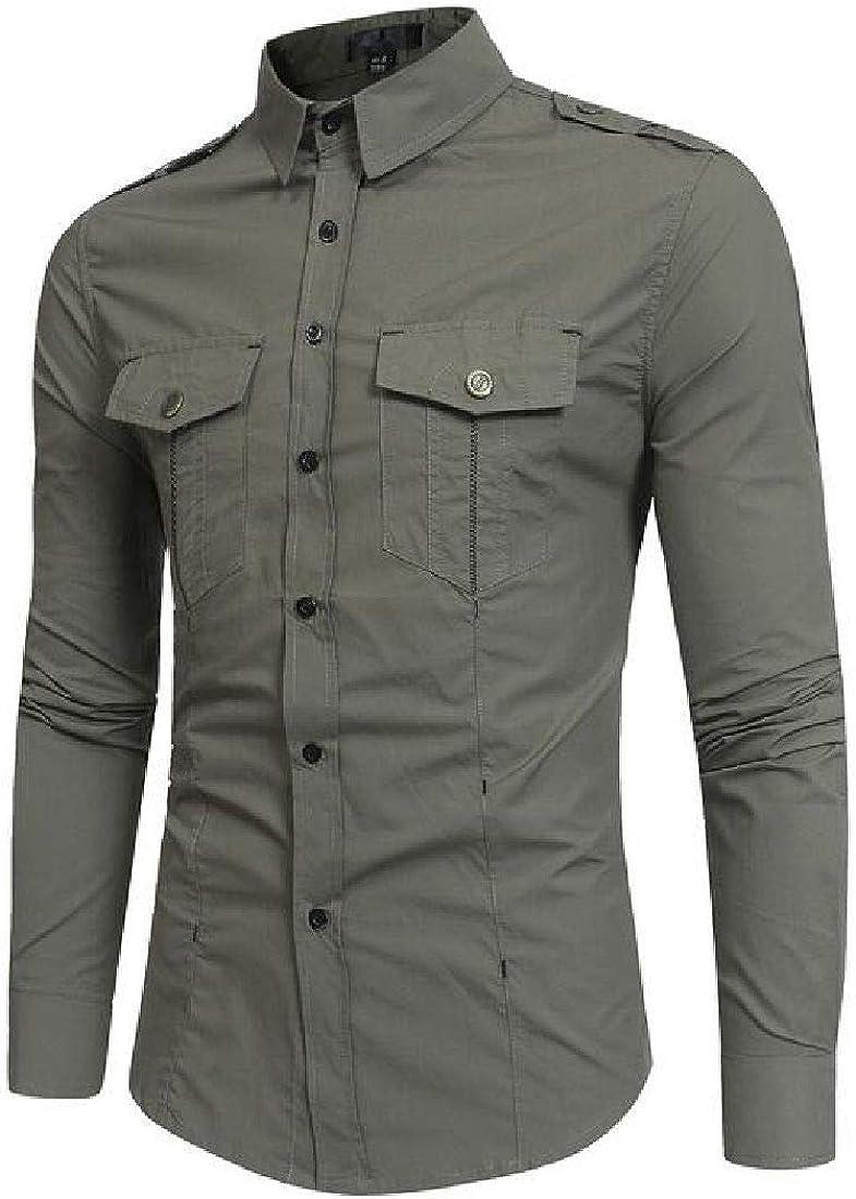 BU2H Men Long Sleeve Slim Button Up Pocket Work Shirt