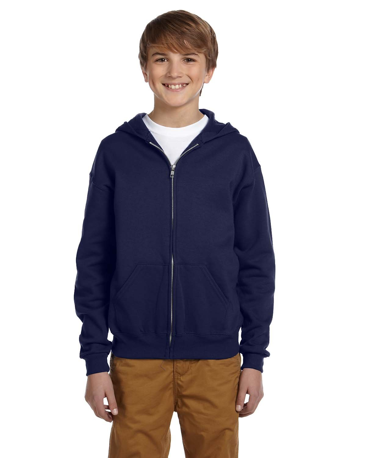 Jerzees Youth Nublend Full-Zip Hooded Sweatshirt, J Nvy, Small