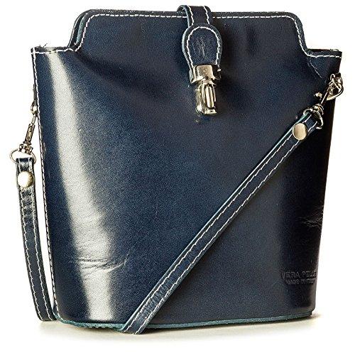 Navy Leather Bag (Big Handbag Shop Small Mini Real Leather Cross Body Bag in Plain, Ostrich or Crocodile Design (Plain - Navy))