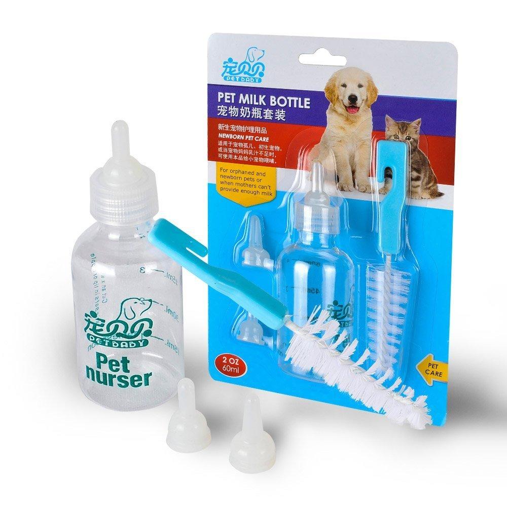 TIOVERY Pet Nursing BottleCat Feeding Bottle Kit With Brush Nipples for Kitte...