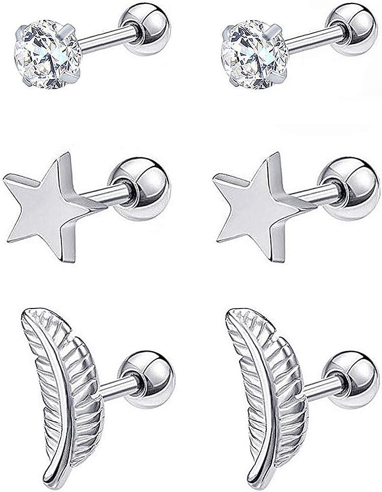 YooAi 3Pair Dormeuses /Étoile Feather Cristal Oreille Os Clou Vis Petites Boucles doreilles Goujons pour Femmes