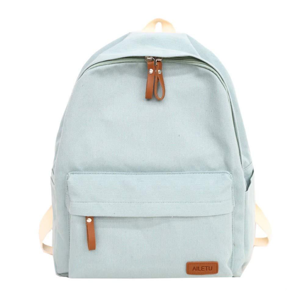 Zlk Backpack Backpack Bag Handbag School Wind Nylon Solid color Simple Girl Backpack