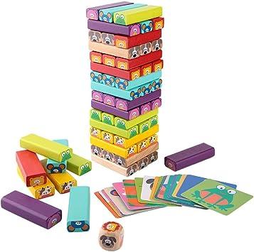 Apilamiento de volteo, construcción de Torres para niños Bloques de Madera Apilamiento Juegos de Mesa Bloques de construcción para Niños pequeños I: Amazon.es: Juguetes y juegos