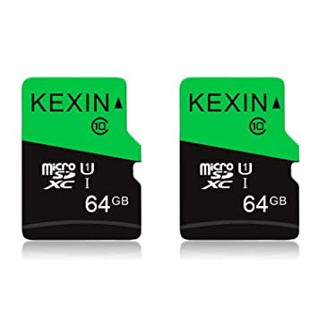 KEXIN Tarjeta Memoria de 64GB, MicroSDXC Tarjeta hasta 80 MB/s Lectura, U1 Class 10 TF Tarjeta [2 Pack * 64GB] para Movil, Tableta, Cámara y Drones