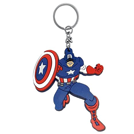 Buy The Marketvilla Single Sided Silicon Keychains Captain America Red Blue Rubber  Keychain with Metal Ring for Kids 805134fa4b