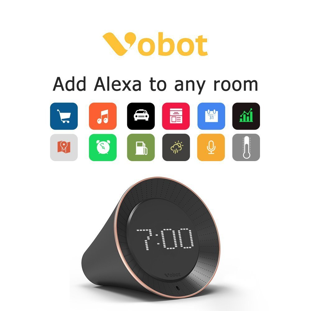Vobot Smart Alarm Clock with Amazon Alexa[Touch-Initiate], 5W Speaker, LED Display, White Noise Machine, Timer/Date/Weather/Daily News/Radio/Music(Amazon Music, iHeartRadio, TuneIn etc) by VOBOT (Image #4)