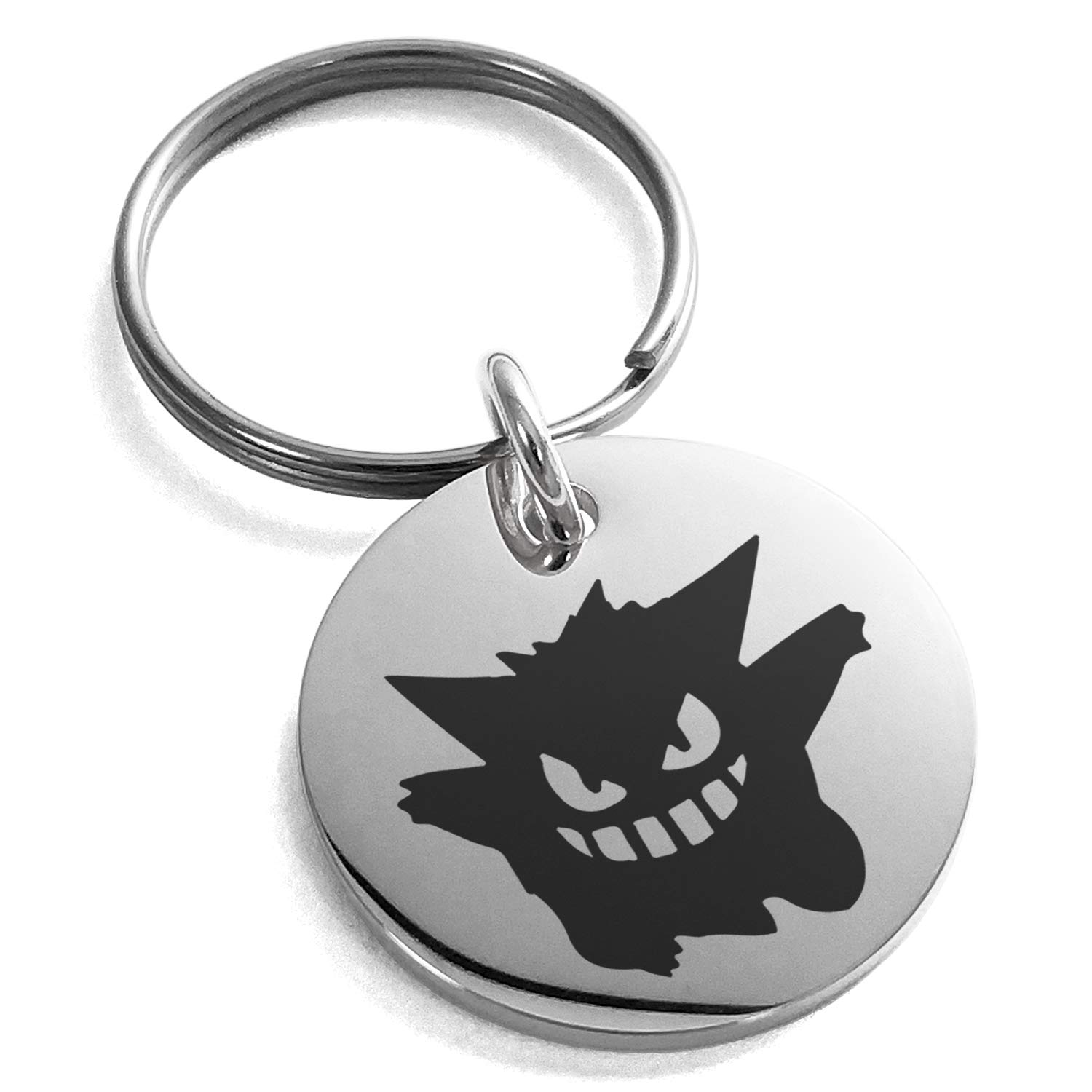 Tioneer Stainless Steel 1st Gen Gengar Pokémon Engraved Small Medallion Circle Charm Keychain Keyring