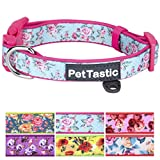 Best Adjustable Medium Dog Collar - PetTastic Durable Soft & Heavy Duty with Cute Rose Design, Outdoor & Indoor use Comfort Dog Collar for girls, boys, puppy, adults, including ID Tag Ring