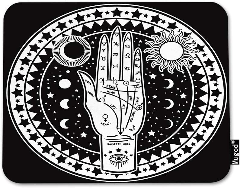Mugod Fortune Teller Hand Mouse Pad Fate Mystic and Occult Symbols Sun Eye Moon Star Mouse Mat Non-Slip Rubber Base Mousepad for Computer Laptop PC Gaming Working Office & Home 9.5x7.9 Inch