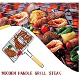 BBQ WINJ Barbecue Basket Folding for Roast BBQ Portable Grilling Basket with Wood Handle for Fish,Vegetables, Steak,Shrimp?Chicken Wings.