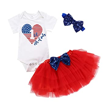 Red, 18-24 Months My First 4th of July Outfit Baby Girl Letters Romper Tutu Dress with Headband Bodysuit Set
