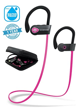 Pink Headphones, Wireless Earphones Bluetooth. SoundWhiz Turbo Pink Earbuds. Best Wireless Headphones for Women for Running, Sports, Gym, Exercise. Wireless Earbuds – Pink Silver