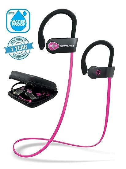 2b68374e5de Pink Headphones, Wireless Earphones Bluetooth. SoundWhiz Turbo Pink Earbuds.  Best Wireless Headphones for