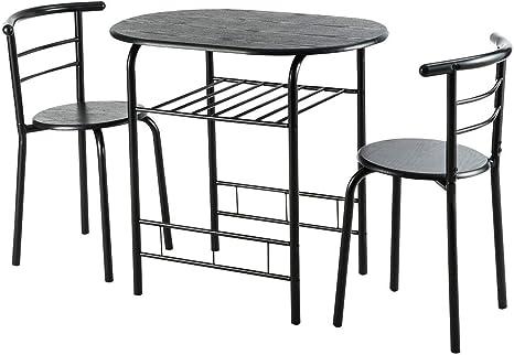 Amazon Com 3 Pcs Home Kitchen Bistro Pub Dining Table 2 Chairs Set Black Chair Sets