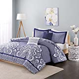 Intelligent Design Isabella Comforter Set Full/Queen Size - Navy, Geometric Damask – 5 Piece Bed Sets – Peach Skin Fabric Teen Bedding For Girls Bedroom