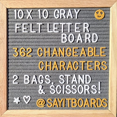 Gray Felt Letter Board 10 x 10 Oak Frame. 362 Changeable White & Gold Letters, Emojis, Symbols and Numbers. Wall Mount & Stand. FREE GIFTS!- Two Canvas bags and (Frame Item Number)