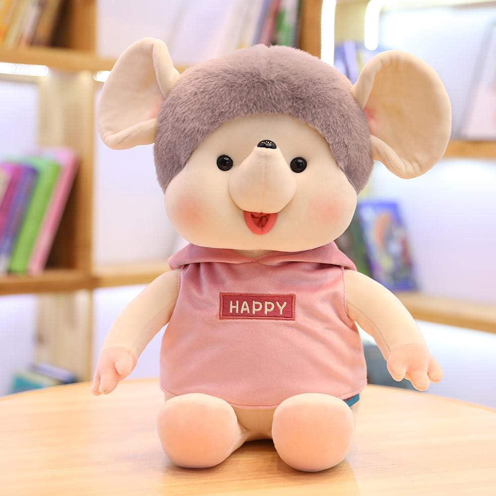 THIBETA Muñeca Cartoon Sweater Mouse Soft Plush Doll Midoduo Windbreaker Little Mouse Doll-Men Pink Clothes_60cm