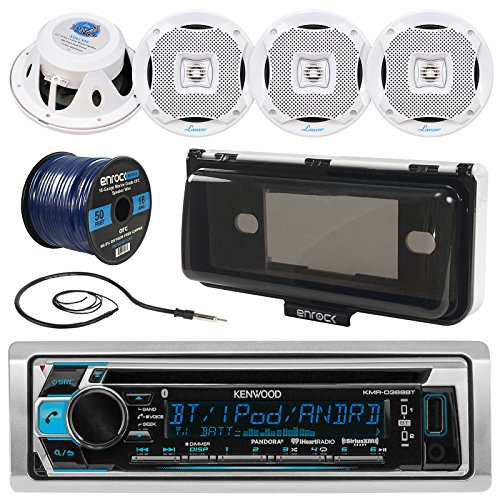 Kenwood KMR-D368BT In-Dash Marine Boat Audio Bluetooth CD Player Receiver W/ Waterproof Protective Cover Bundle Combo With 4x 400W 6.5