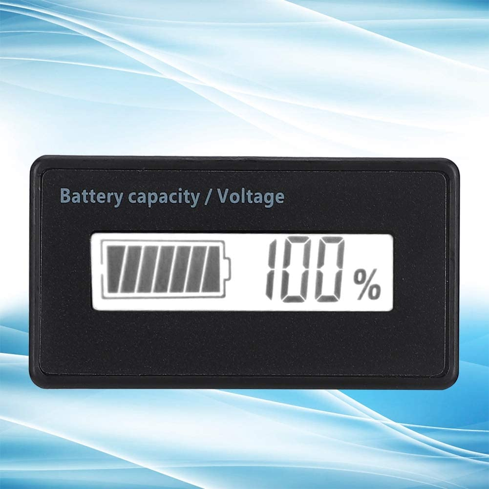 12-84V LCD Battery Display Compatible with Lead-acid battery//lithium battery//iithium iron battery white Waterproof Battery Capacity Monitor Indicator