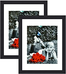 Tasse Verre 11x14 Picture Frame (Black 2-Pack) - HIGH Definition Glass Front Cover - Displays 11 by 14