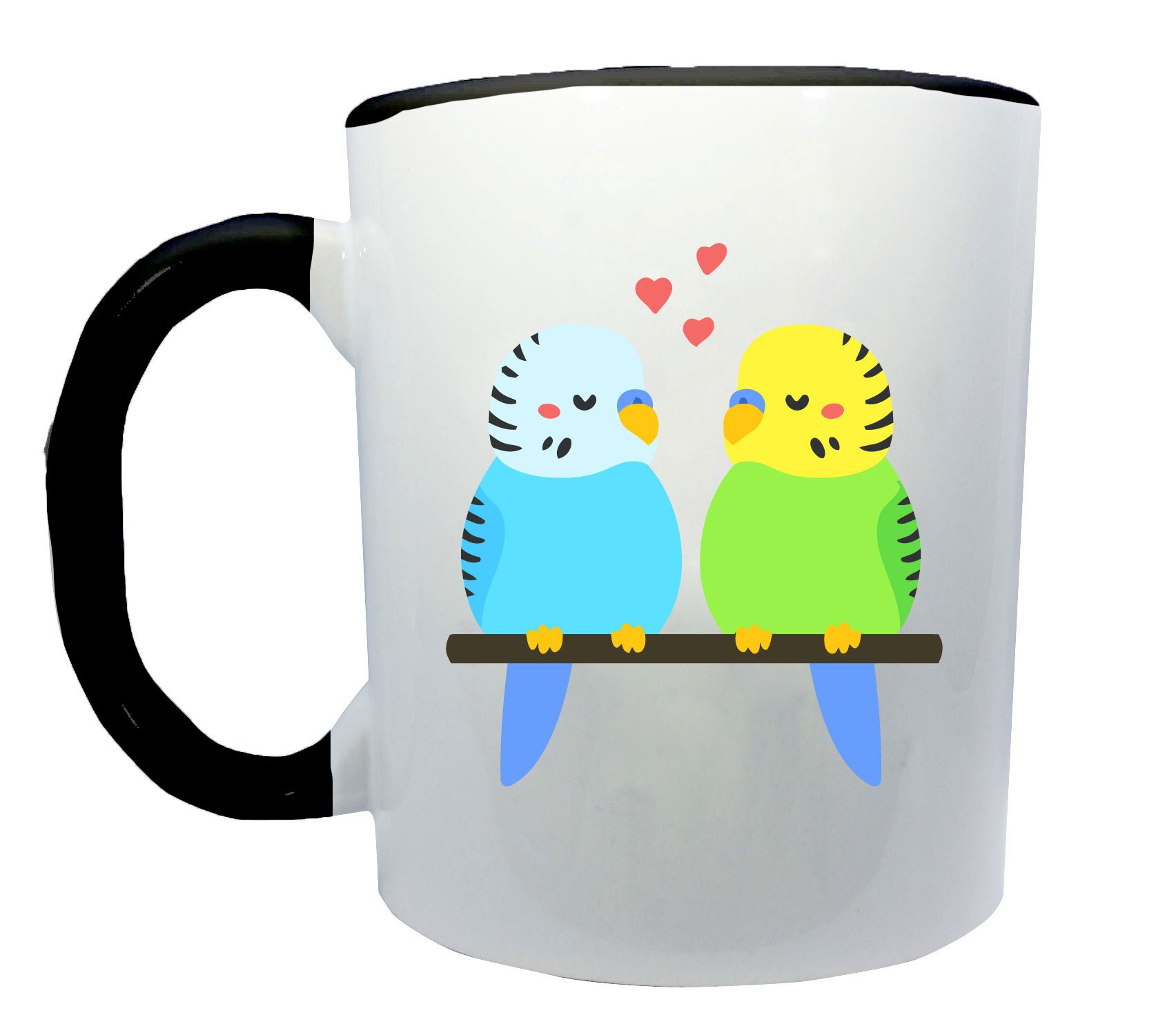 Cute Chibi Budgie Bird Lovers On a Branch Coffee or Tea 11oz Mug - Perfect Gift for Bird and Animal Lovers by Dark Spark Decals
