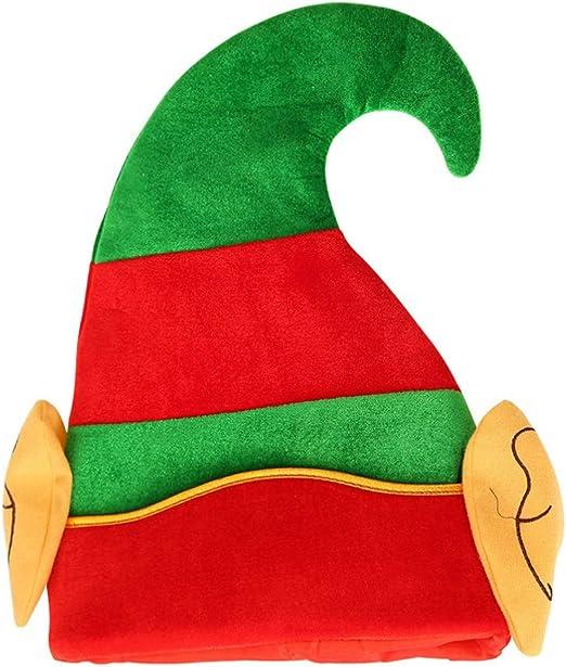 Amosfun Sombrero de Duende de Navidad con Orejas Disfraz de Duende ...