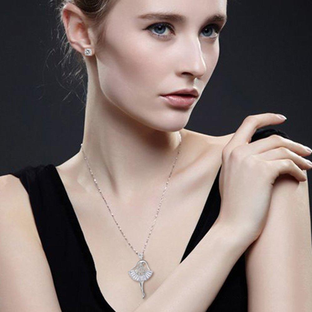 MYKEA Elegant Jewelry Set for Women 18K White Gold Ballerina Girl Pendant Necklace with Cubic Zirconia Stud Earrings for Teen Girls Jewelry by MYKEA (Image #1)