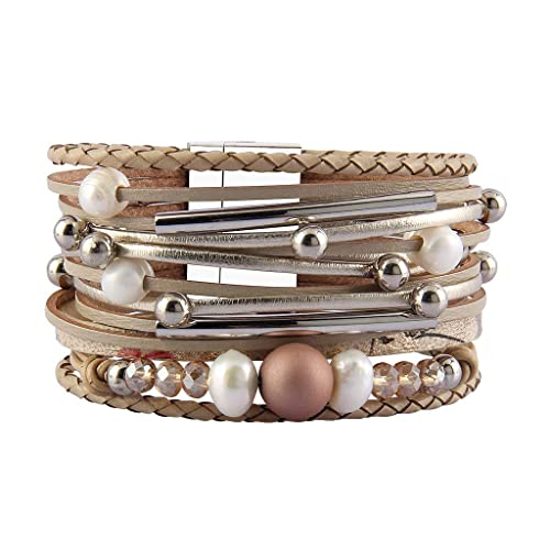 e78afd02d86 JAOYU Pearl Leather Bracelet with Crystal Cuff Bracelets for Women Bangle  Boho Jewelry Handmade Gifts -