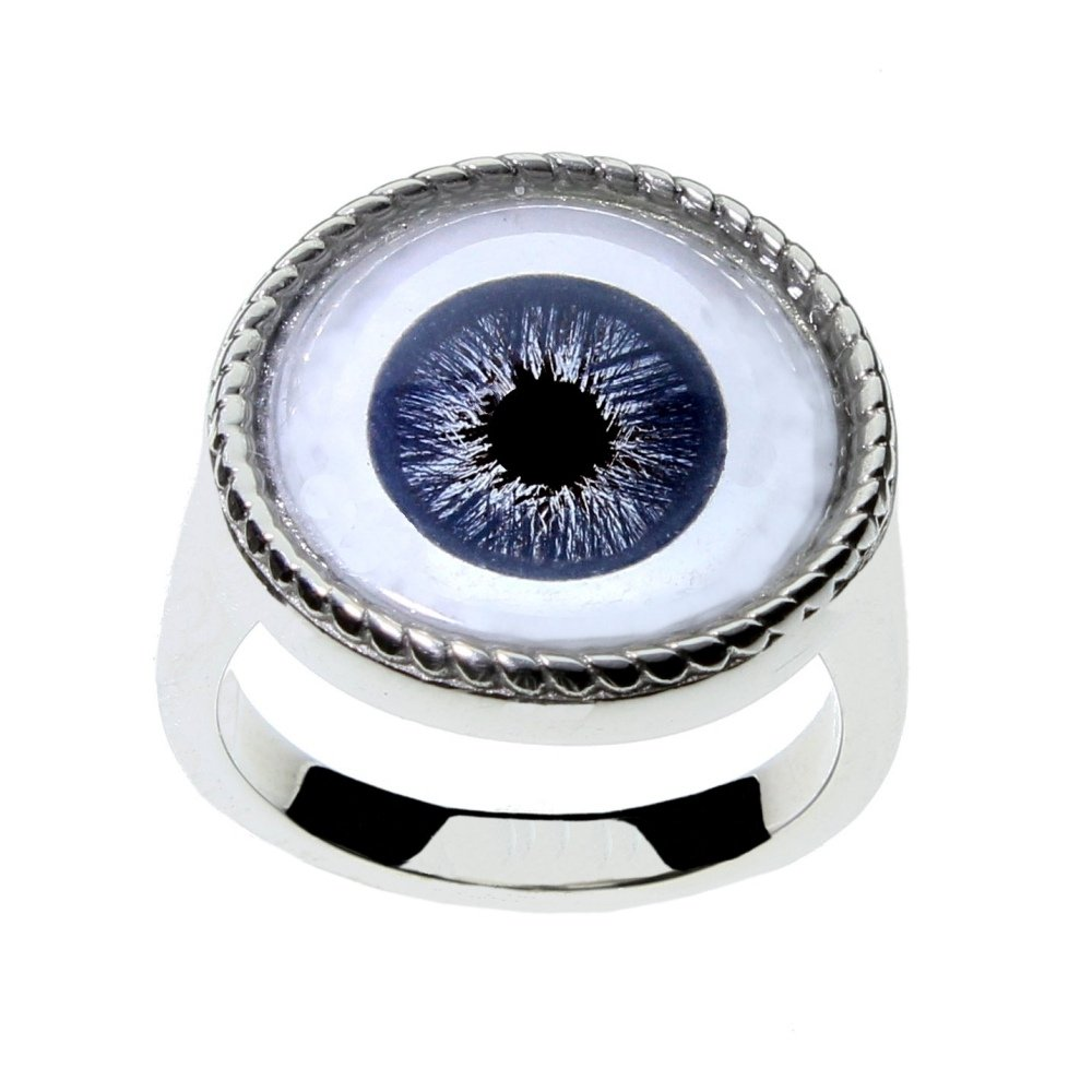 Men or Women's Blue Glass Eye Statement Ring by Steel Dragon Custom Jewelry(Blue Human, 12)