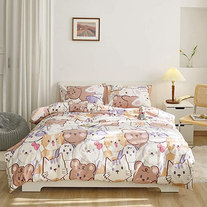 HUISEFOR Kids Queen Bedding Duvet Cover Set,3D Black Cat Print Premium Microfiber,Cats Pattern On Comforter Cover-3pcs:1x Duvet Cover with 2X Pillowcase,for Kids Adults