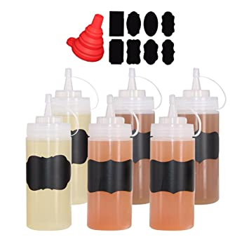 Benail 6 pack 12 oz Plastic Squeeze Squirt Condiment Bottles with Twist On...