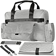 O'Beanie Baby Diaper Bag | Designer Fashion Tote | Unisex Nautical Gray & Cream Stripe