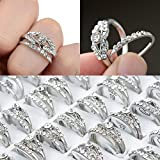 10pcs Lots Mixed Silver Plated Crystal Rhinestone Rings Jewelry Gifts (silver)