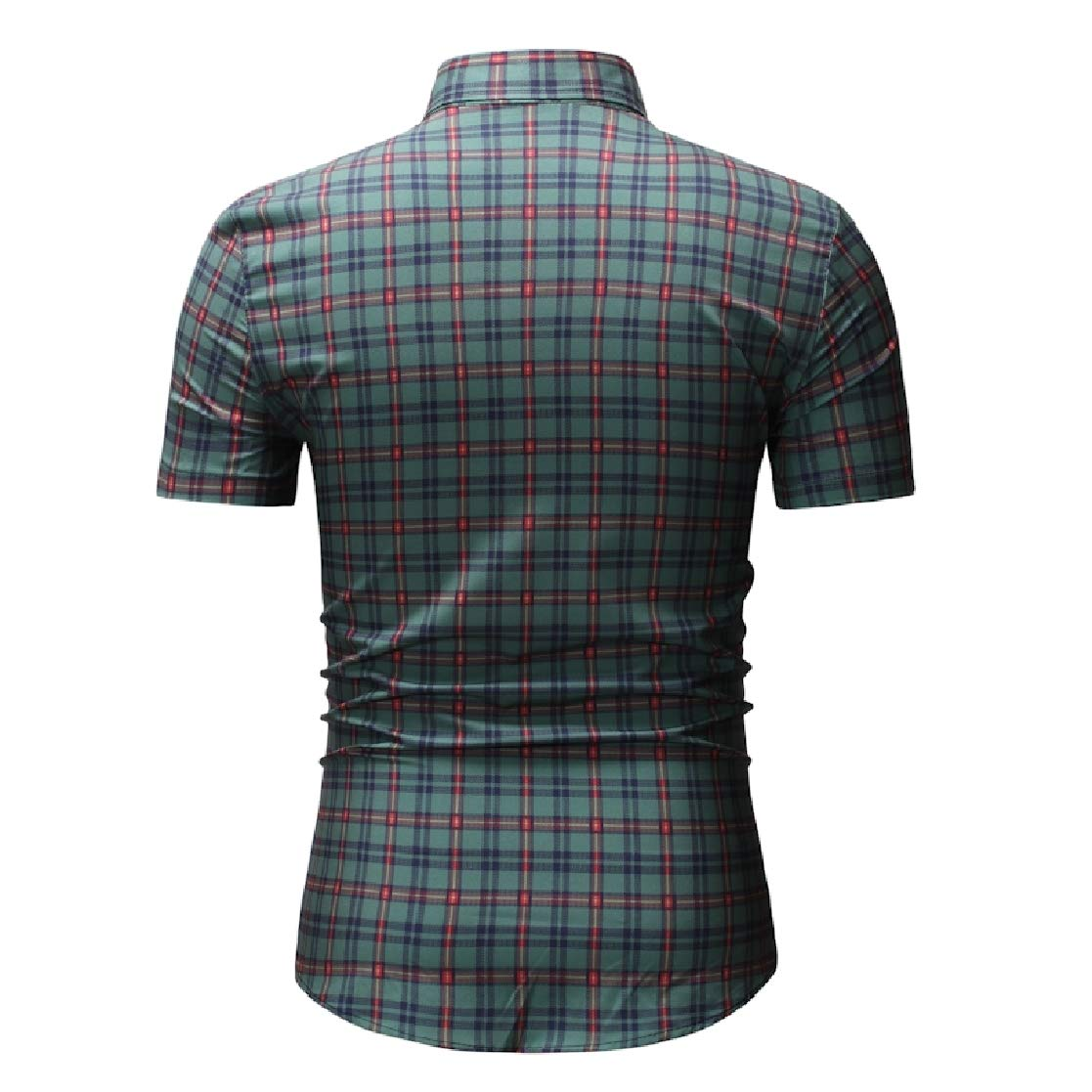 YUNY Mens Oversize Short-Sleeve Britain Plaid Summer Tee Polo Shirt Green M