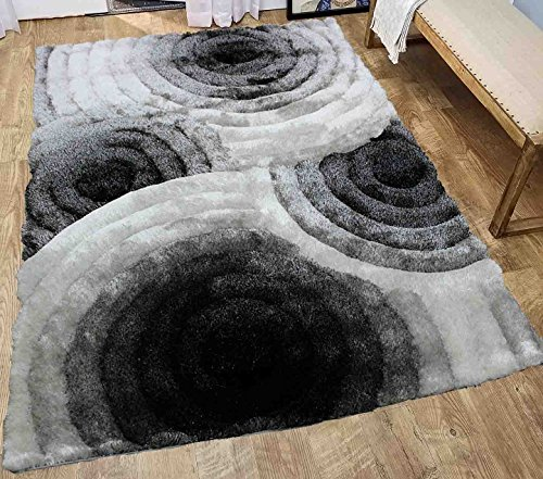 Black and White Striped Shag Shaggy Woven Fluffy Fuzzy Furry Area Rug Carpet Large 5x7 Living Room Bedroom Indoor Floor Modern Contemporary Geometric Patterned Soft Cheap Sale ( SAD 419 Black White ) by LA Rug Linens