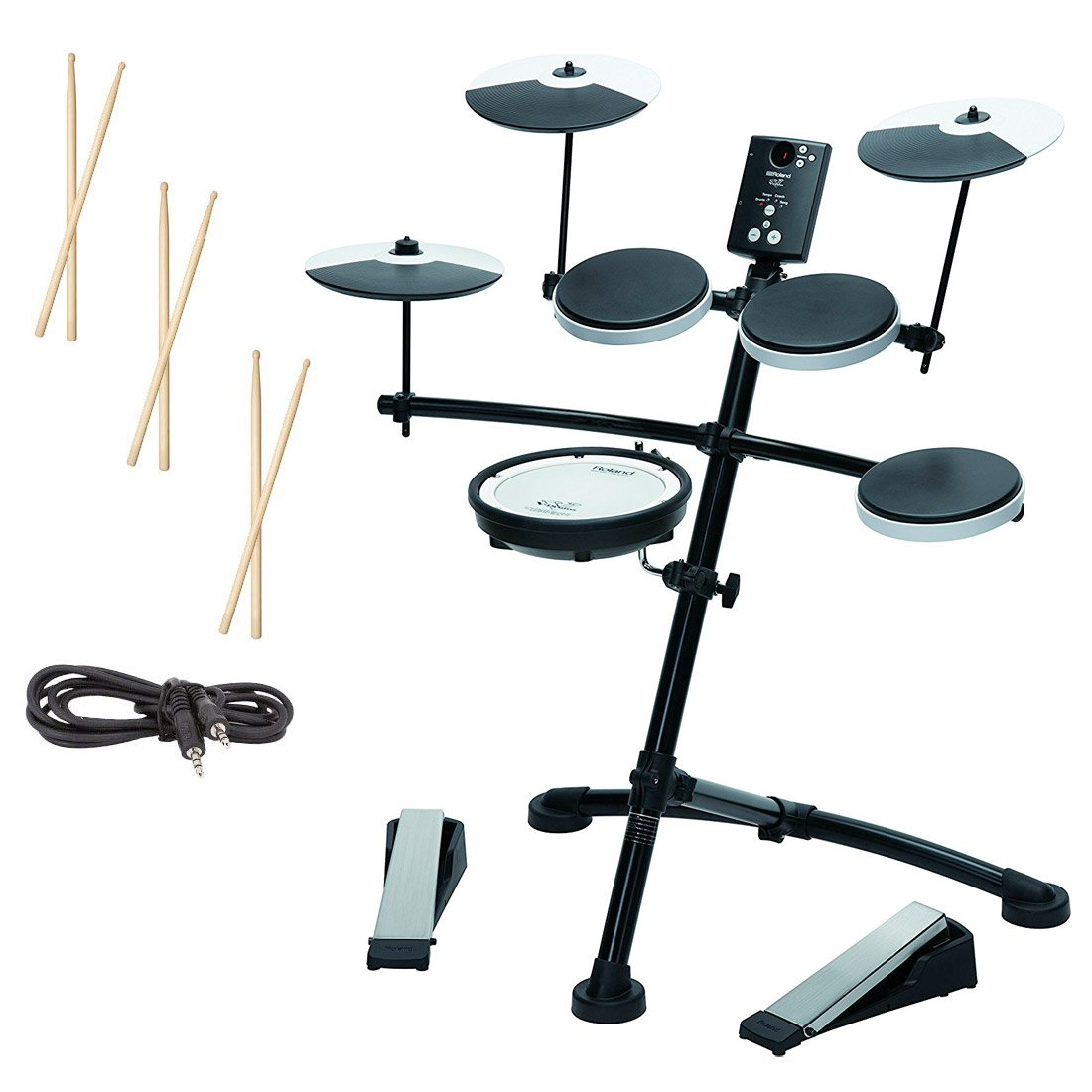 Roland TD-1KV Electronic Drum Set w/ 3 Pairs of Sticks, Audio Cable & Polishing Cloth