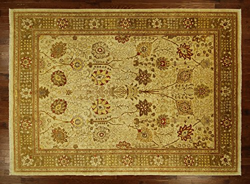 (Bh Sun H6417 10 x 14 ft. Oushak Collection Ivory Chobi Mahal Ziegler Hand Knotted Wool Rug)